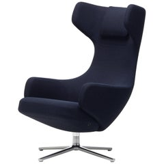 Vitra Grand Repos Lounge Chair in Dark Blue & Black Credo by Antonio Citterio