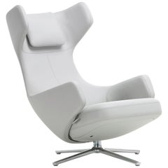 Vitra Grand Repos Lounge Chair in Snow Leather by Antonio Citterio