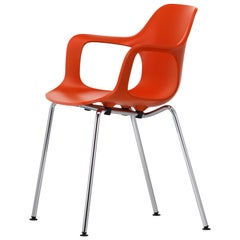 Vitra HAL Armchair Tube Stackable in Orange Seat Shell by Jasper Morrison