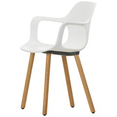 Vitra HAL Armchair Wood in White Seat Shell by Jasper Morrison
