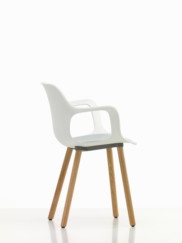 Modern Vitra Hal Armchair Wood with Blue Seat in White by Jasper Morrison For Sale