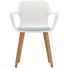 Vitra Hal Armchair Wood with Blue Seat in White by Jasper Morrison