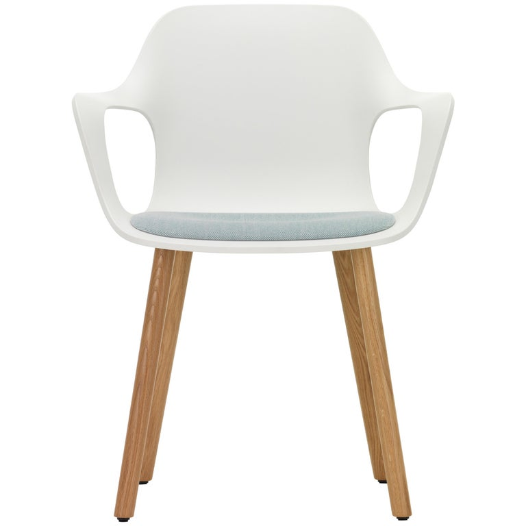Vitra Hal Armchair Wood with Blue Seat in White by Jasper Morrison For Sale