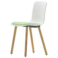 Vitra Hal Wood in White with Green Seat by Jasper Morrison