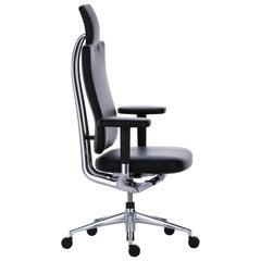 Vitra HeadLine Management Chair in Nero Leather by Mario & Claudio Bellini