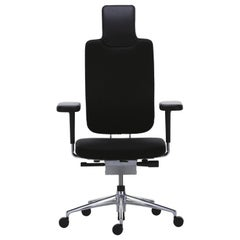 Vitra Headline Office Chair in Black W/ Leather Details, Mario & Claudio Bellini