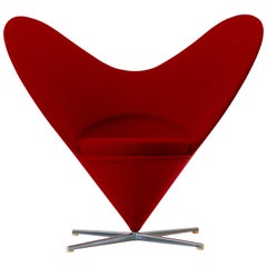 Vitra Heart Cone Chair in Red by Verner Panton