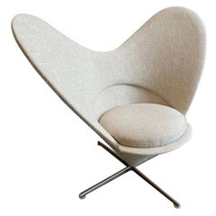 Vitra Heart Cone Swivel Chairs by Verner Panton in Linen Cotton