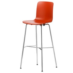 Vitra HAL Stool High in Orange Seat Shell by Jasper Morrison