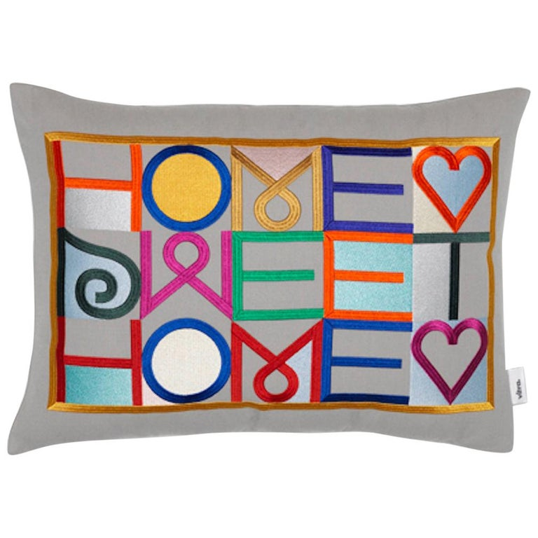 Vitra 'Home Sweet Home' Embroidered Pillow by Alexander Girard For Sale