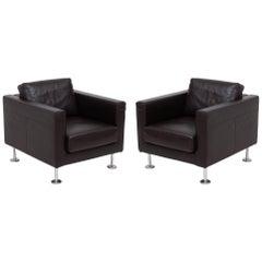 Vitra Jasper Morrison Park Leather Armchairs, Set of 2