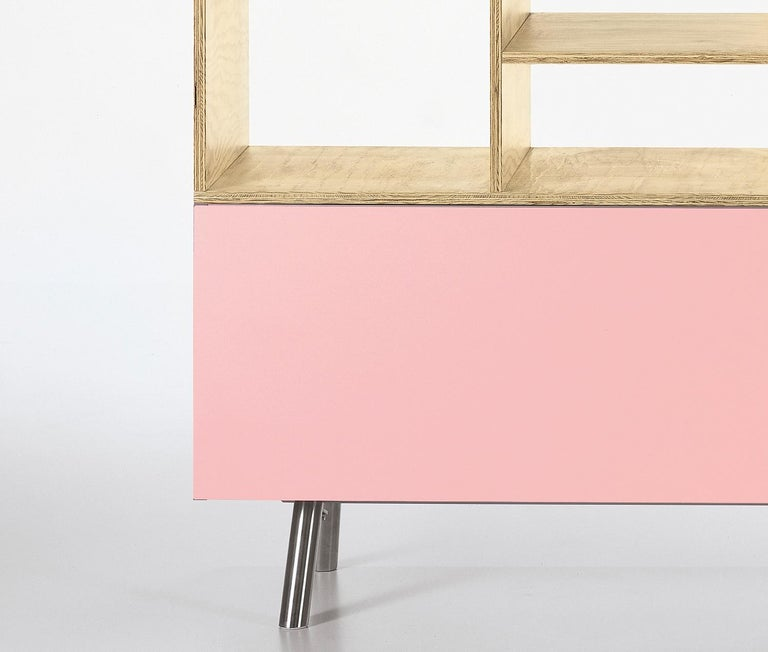 These items are only available in the United States.  Modular in structure, the Kast storage unit starts with a sideboard as the base version. Maarten Van Severen paid special attention to the colors of the sliding doors, which not only emphasize