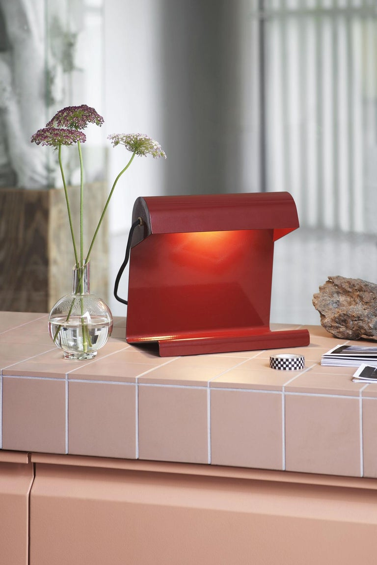 Industrial Vitra Lampe De Bureau in Japanese Red by Jean Prouvé For Sale