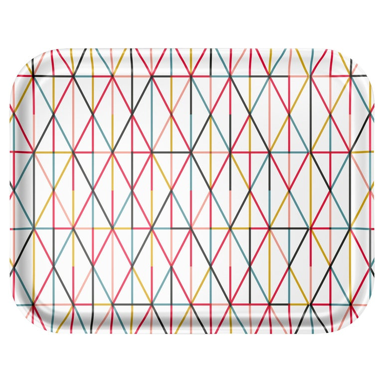 Vitra Large Classic Tray in Multicolor Grid Pattern by Alexander Girard For Sale