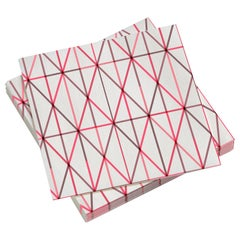 Vitra Large Paper Napkins in Pink Grid Pattern by Alexander Girard
