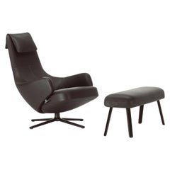 Vitra Repos & Large Panchina in Chocolate Leather by Antonio Citterio