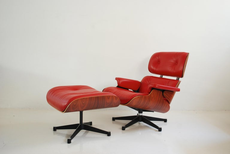 German Vitra Lounge Chair Red Leather Santos Rosewood Charles/ Ray Eames, 2007