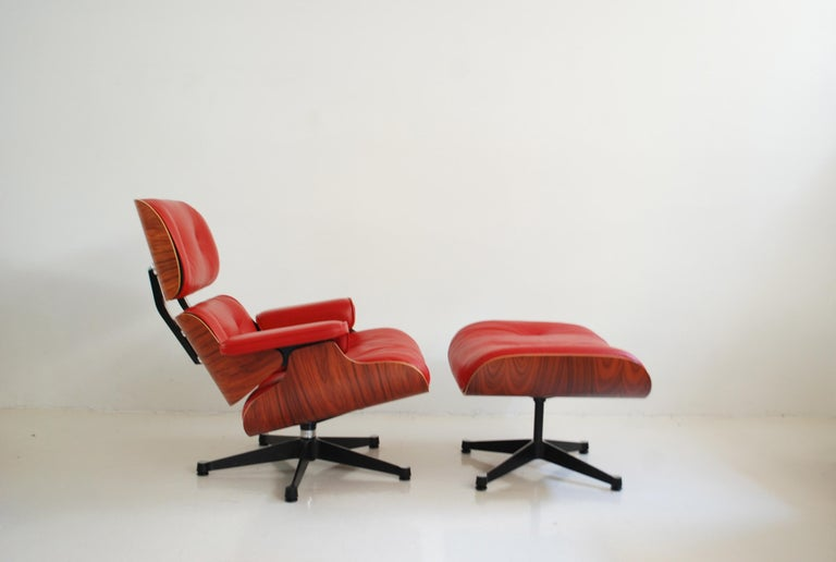 Lacquered Vitra Lounge Chair Red Leather Santos Rosewood Charles/ Ray Eames, 2007