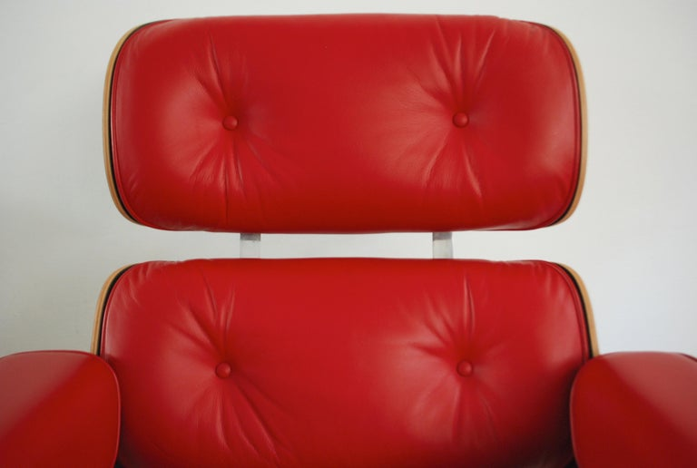 20th Century Vitra Lounge Chair Red Leather Santos Rosewood Charles/ Ray Eames, 2007