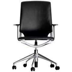 Vitra Meda Chair in Black Leather by Alberto Meda