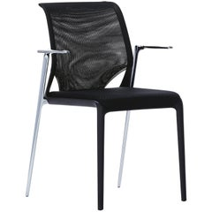 Vitra Meda Slim Chair in Black Nova and Chrome Legs by Alberto Meda