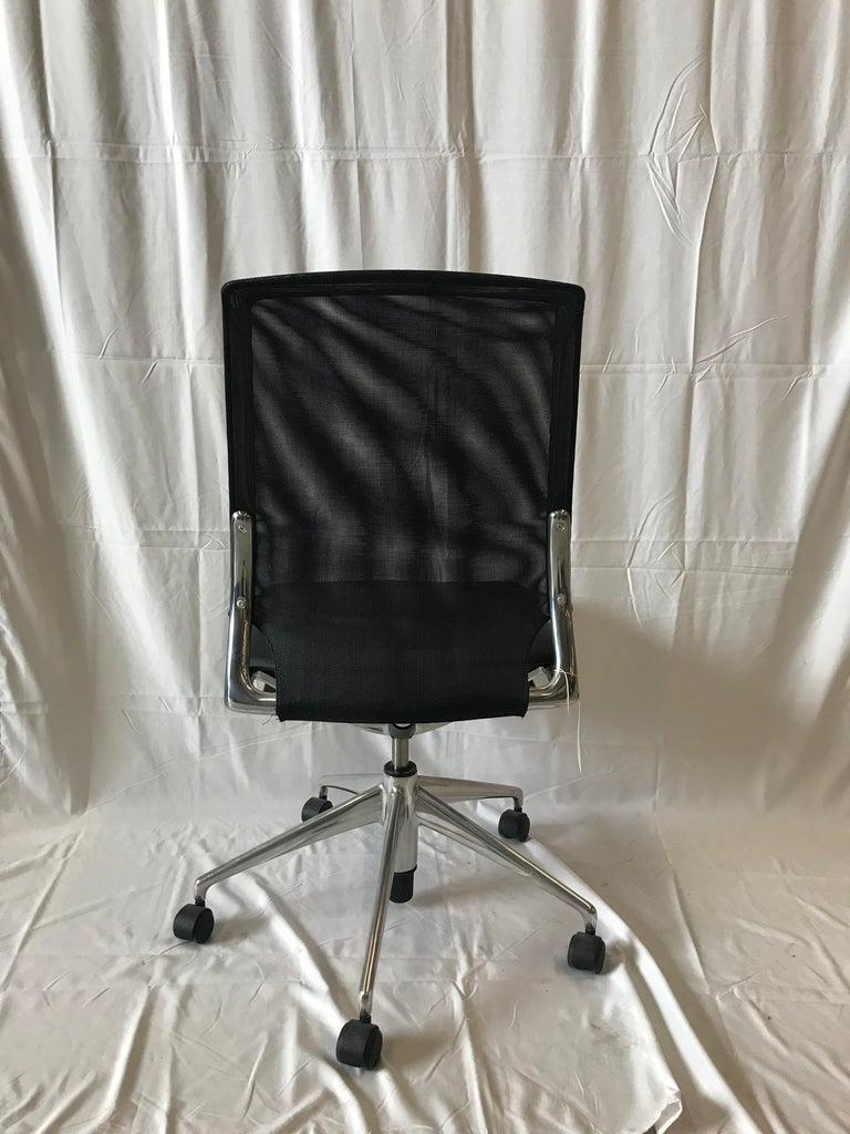 Modern Vitra Meda Swivel Chair, Leather Seat, Black NetWeave Back For Sale