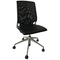 Vitra Meda Swivel Chair, Leather Seat, Black NetWeave Back