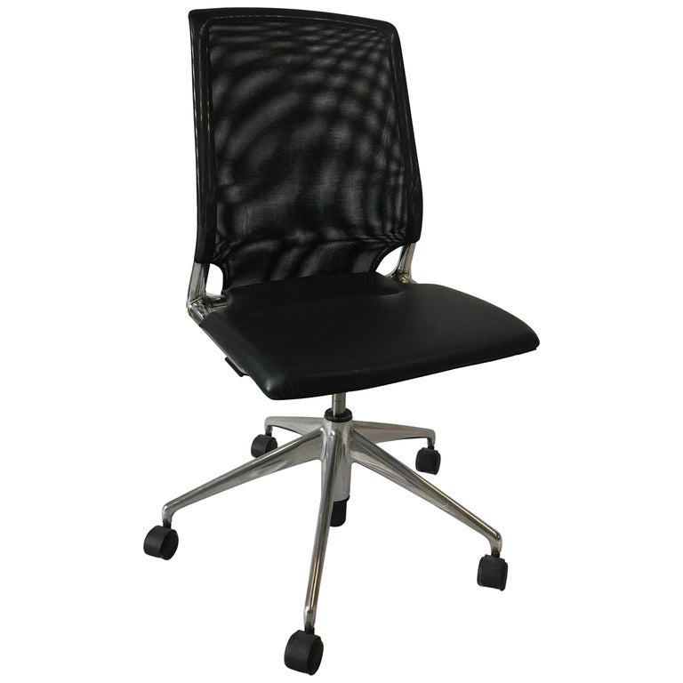 Vitra Meda Swivel Chair, Leather Seat, Black NetWeave Back For Sale