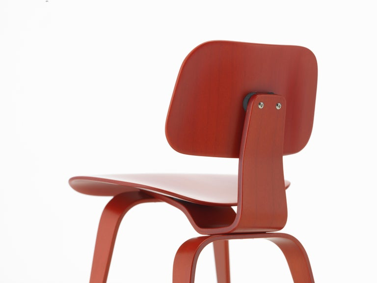Modern Vitra Miniature DCW Chair in Red by Charles & Ray Eames For Sale