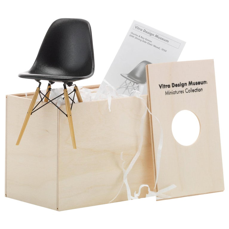 Vitra Miniature DSW Chair in Black by Charles & Ray Eames For Sale