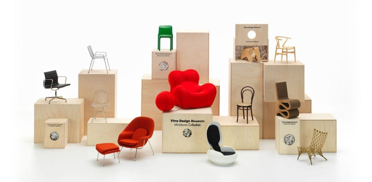 Swiss Vitra Miniature Lounge Chair and Ottoman by Charles & Ray Eames For Sale