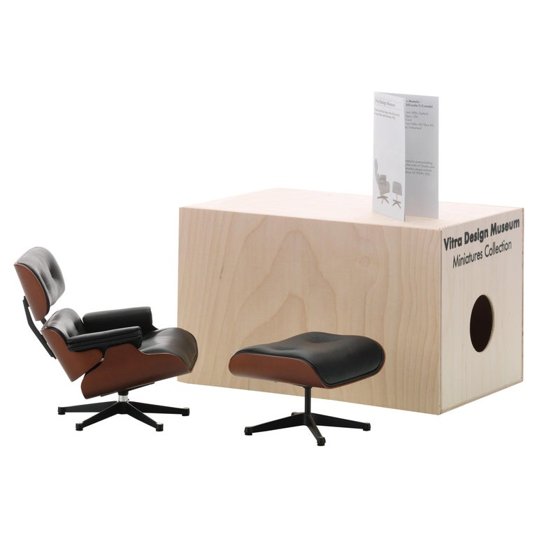 Vitra Miniature Lounge Chair and Ottoman by Charles & Ray Eames For Sale