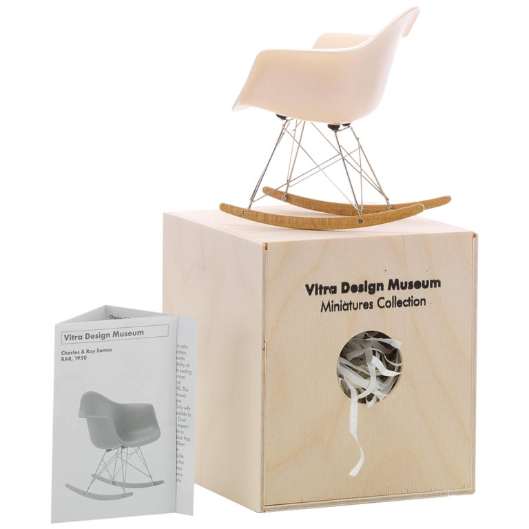 Vitra Miniature RAR Chair in White by Charles & Ray Eames For Sale