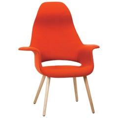 Vitra Organic Dunkeloranger Stuhl mit hoher Lehne von Charles Eames & Eero Saarinen
