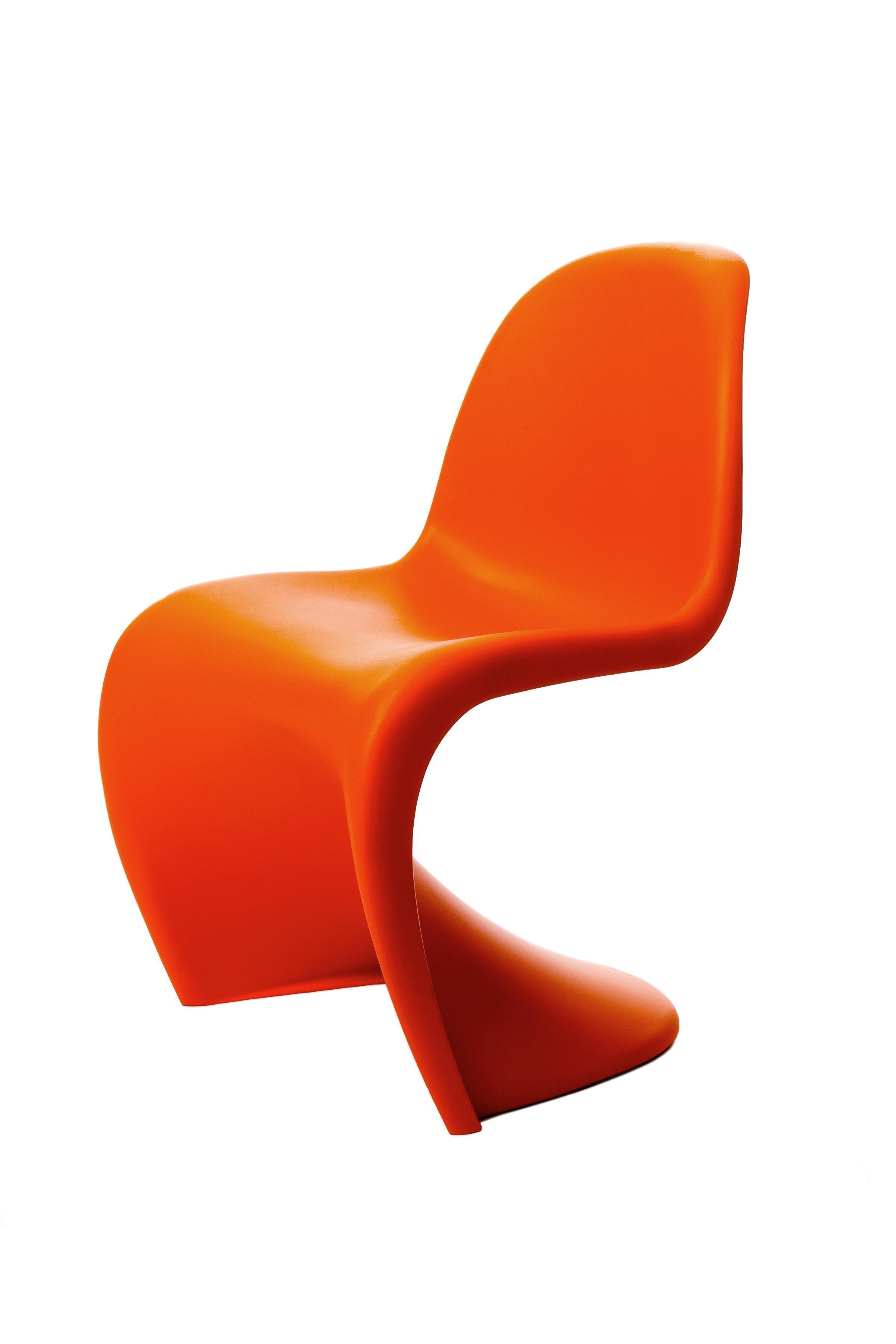 Vitra Panton Chair In Tangerine By Verner Panton