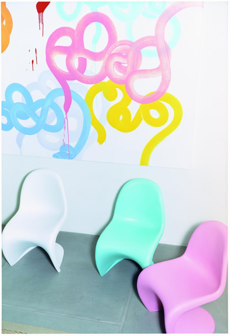 Resin Vitra Panton Junior Chair in Light Pink by Verner Panton For Sale