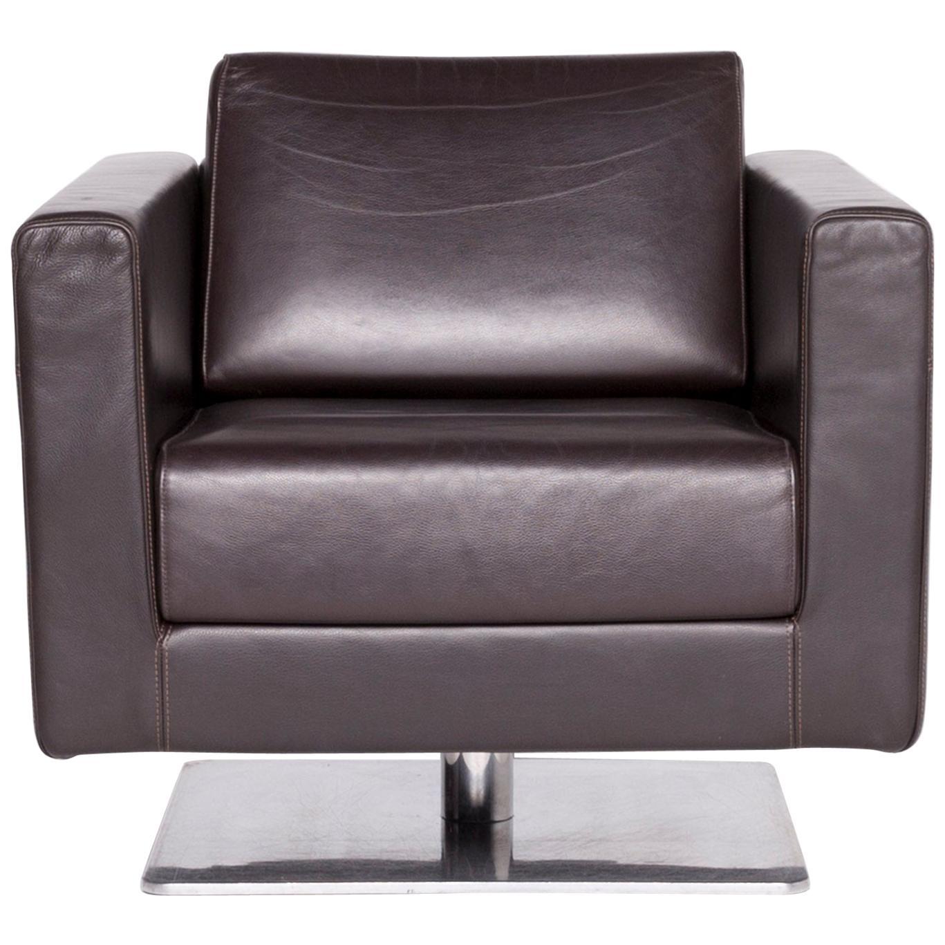 Vitra Park Armchair Designer Armchair Brown Leather Jasper Morrison Polished