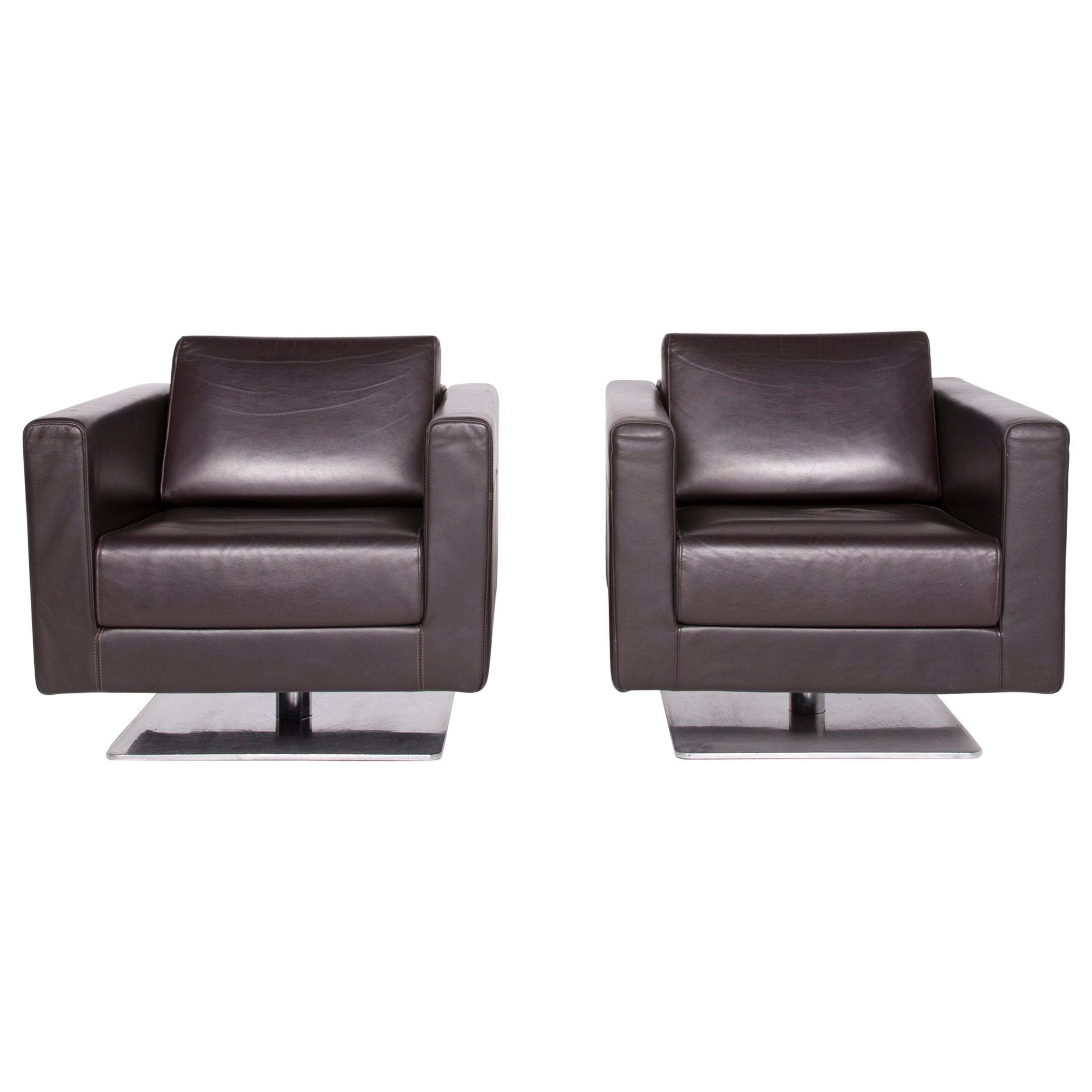 Vitra Park Swivel Armchair 2x Designer Armchair Set Leather Brown Chocolate