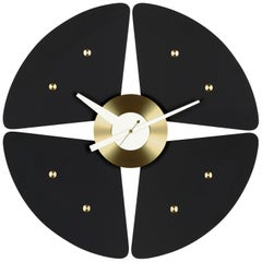 Vitra Petal Wall Clock in Black & Brass by George Nelson
