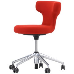 Vitra Pivot Stool with Five-Star Base in Red Single Knit by Antonio Citterio