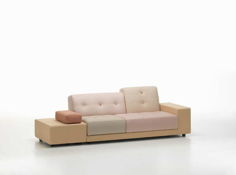 These items are currently only available in the United States.  The distinctive character of the Polder Sofa by Hella Jongerius derives from the combination of diverse fabrics and colors, an asymmetrical shape and charming details. The large seat