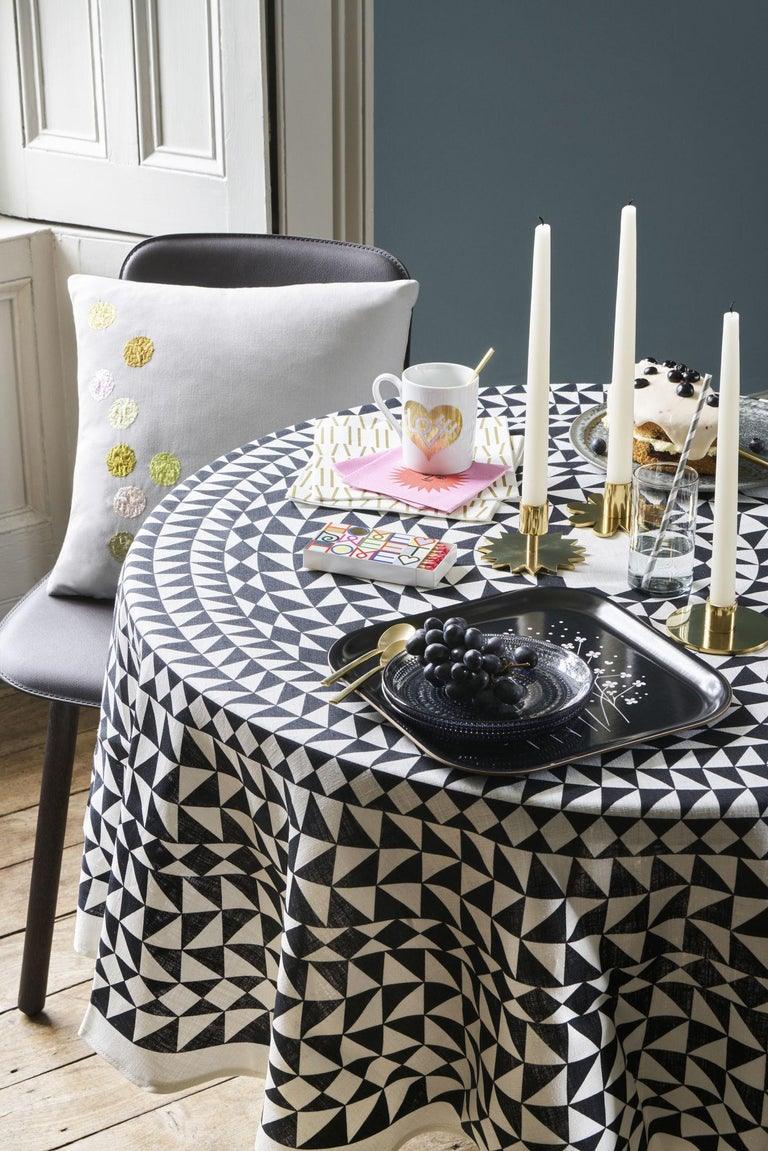 Cotton Vitra Round Tablecloth in Black Geometric by Alexander Girard, 1stdibs New York For Sale