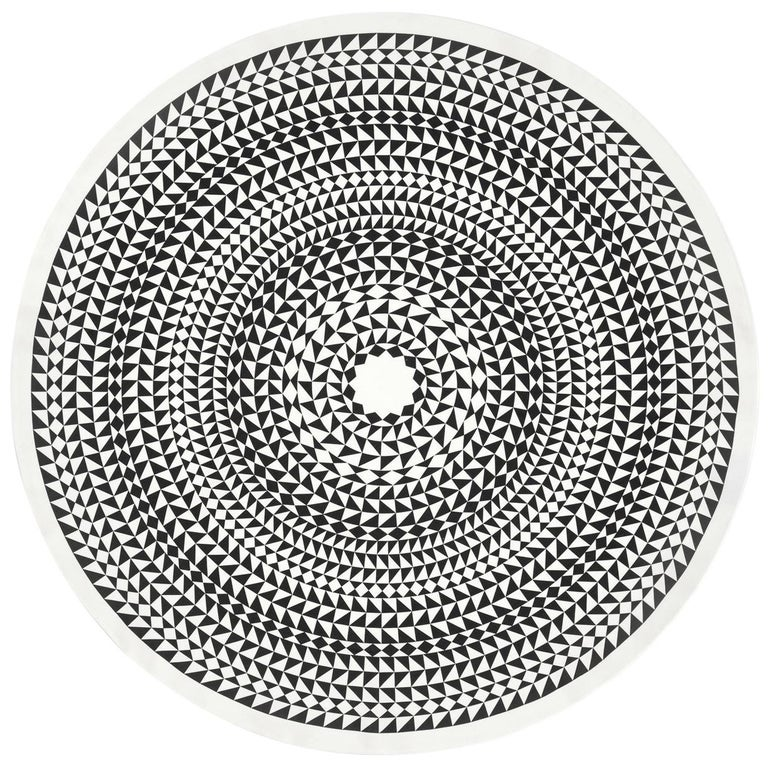 Vitra Round Tablecloth in Black Geometric by Alexander Girard, 1stdibs New York For Sale