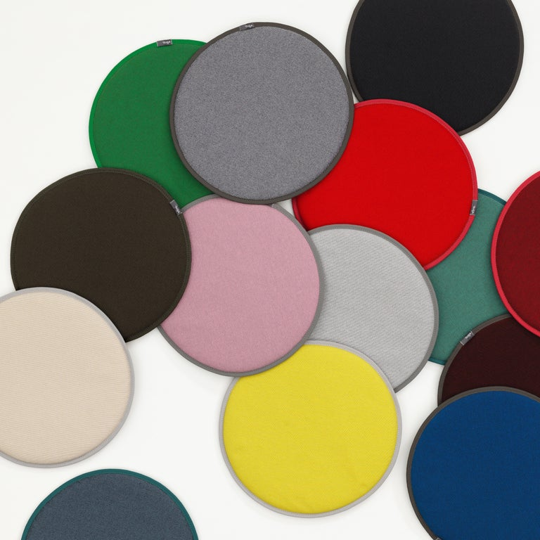 These items are currently only available in the United States.  The round upholstered seat dot cushions offer a simple way to add comfort to chairs made of plastic, wood or metal. The different colored faces create subtle or bold accents, which