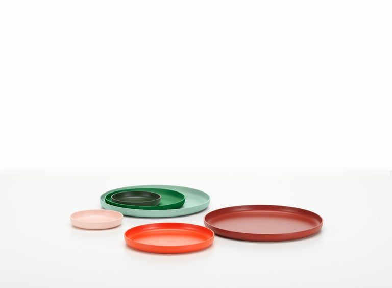 These products are only available in the United States.  At first glance, the Trays appear to be simple, flat dishes made of plastic. They were, however, developed by Jasper Morrison as a set of three, in carefully harmonized colors and sizes, in