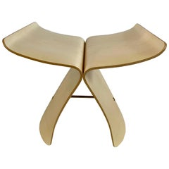 Vitra Signed Butterfly Stool in Maple Plywood and Brass by Sori Yanagi