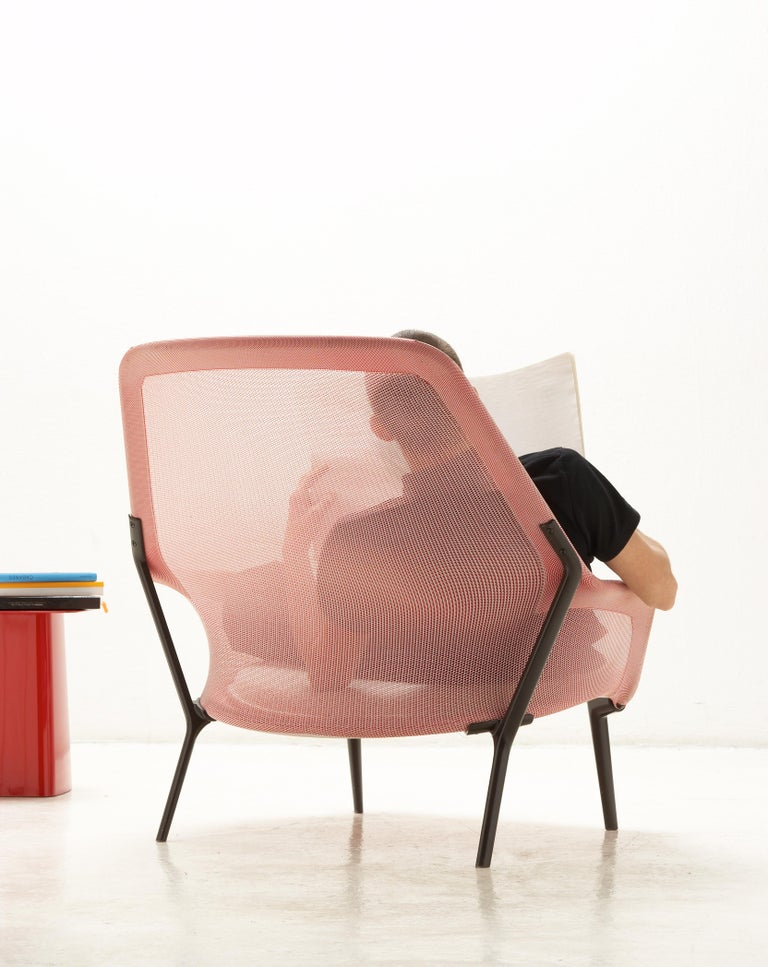 Contemporary Vitra Slow Chair in Red and Cream by Ronan & Erwan Bouroullec For Sale