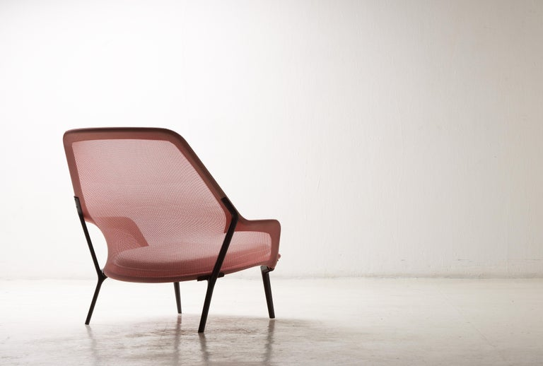 Steel Vitra Slow Chair in Red and Cream by Ronan & Erwan Bouroullec For Sale