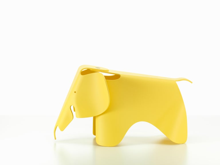 These items are currently only available in the United States.  Charles and Ray Eames developed a toy elephant made of plywood in 1945; however, this piece never went into production. A scaled-down version, the Eames Elephant (small) made of