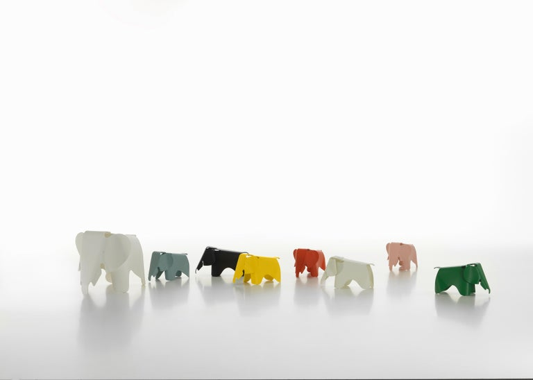 These items are currently only available in the United States.  Charles & Ray Eames developed a toy elephant made of plywood in 1945; however, this piece never went into production. A scaled-down version, the Eames Elephant (small) made of robust